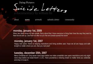 Ilustracja 7: Print screen ze strony internetowej www.dyingpictures.com prezentujący przykłady publikowanych listów