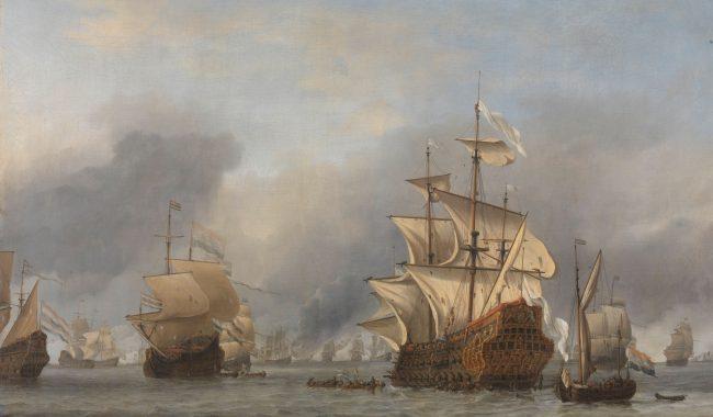 Bitwa czterodniowa (1666 r.) Zdobycie przez Holendrów angielskiego okrętu flagowego Royal Prince. Obraz Willema van de Velde. Zbiory Rijksmuseum w Amsterdamie. Domena publiczna.